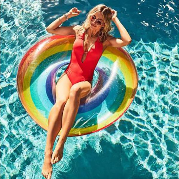 歐美時髦水晶彩虹加大120cm泳圈  游泳圈,泳圈,彩虹泳圈
