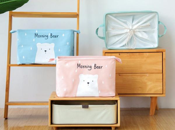 北歐小熊馬卡龍束口收納袋 玩具收納,家庭收納籃,置物籃,束口收納