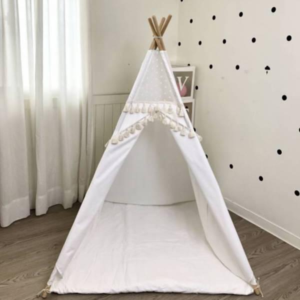 米色流蘇拼接圓點蕾絲四角帳篷 兒童印地安帳篷,兒童帳篷,兒童玩具帳篷,遊戲帳篷,兒童房佈置