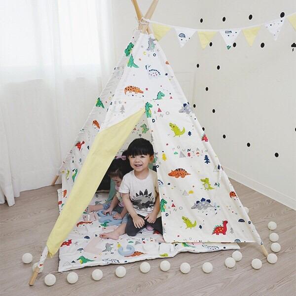 韓系繽紛小恐龍純棉布四角兒童帳篷 兒童印地安帳篷,純棉帳篷,無毒,遊戲帳篷,兒童布帳