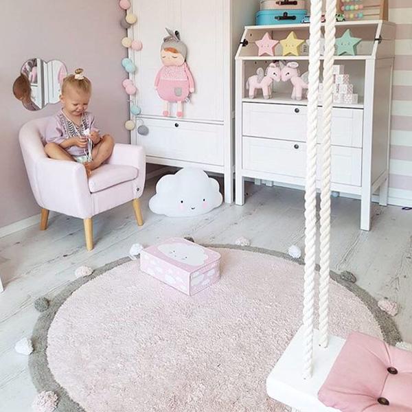 歐美厚實純棉針織球球超大120cm圓形地墊 instagram,ig拍照佈景,遊戲地墊,兒童房佈置,帳篷地墊