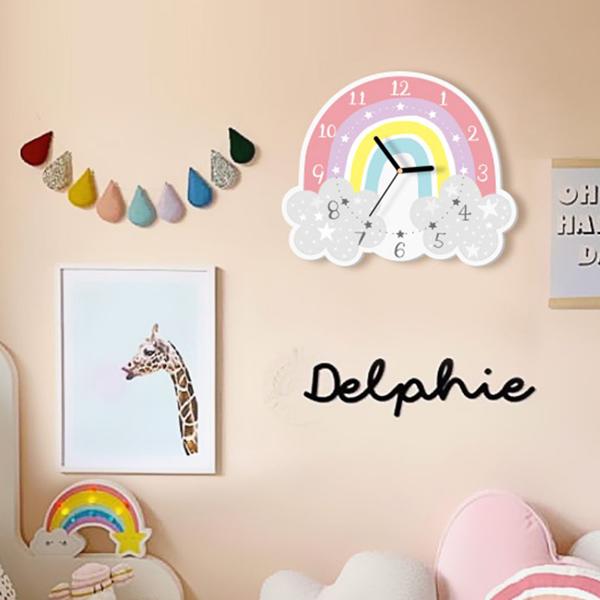IG款美型彩虹雲朵造型無聲靜音時鐘 兒童房時鐘  學習時鐘 動物時鐘 靜音時鐘 兒童時鐘 動物時鐘