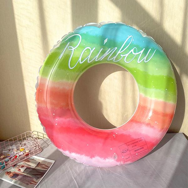 IG美系漸層彩虹親子游泳圈  兒童游泳圈,泳圈,彩虹泳圈,附把手游泳圈