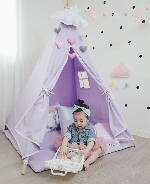 優雅薰衣紫小絨球鑲邊四角遊戲帳篷 兒童印地安帳篷,遊戲帳篷,薰衣草紫,遊戲帳篷,兒童布帳