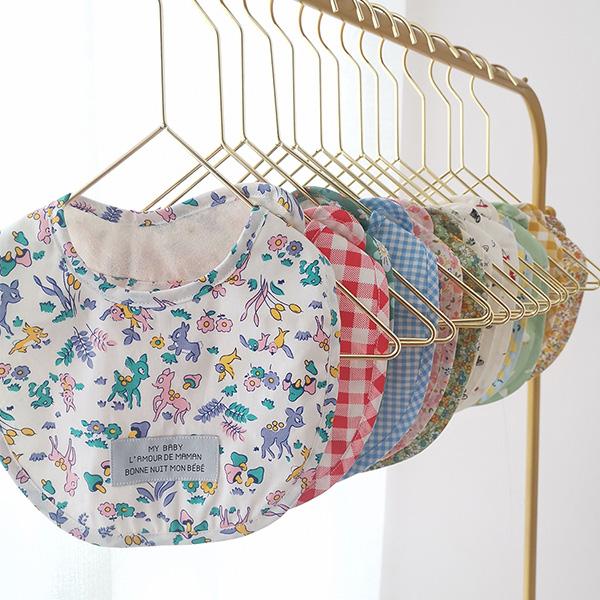 法式花朵小動物防水圍兜口水巾 圍兜,口水巾,圍兜假領子,小碎花圍兜