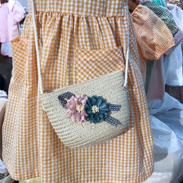 ♦ 4折出清 ♦ 韓國進口 側邊花朵編織小包 正韓 韓國進口 花朵 編織包 女童 包包