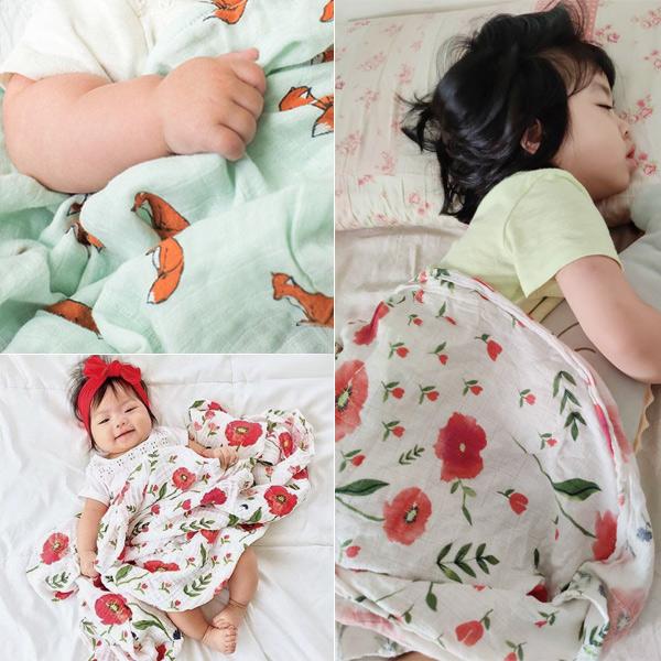 歐美IG花卉動物印花muslin紗布柔軟透氣萬用嬰兒包巾/蓋被 雙層紗布巾,哺乳巾,嬰兒包巾,新生兒包巾, 棉蓋被,防曬巾,推車蓋被