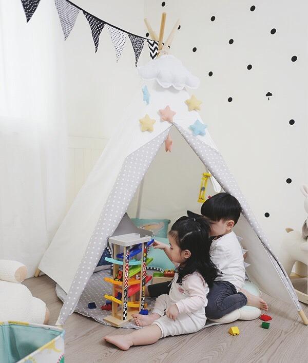 IG款白色拼接小星星兒童小木屋帳篷 兒童印地安帳篷,小木屋帳篷,純棉帳篷,兒童帳篷,兒童玩具帳篷,遊戲帳篷,兒童房佈置,兒童攝影道具