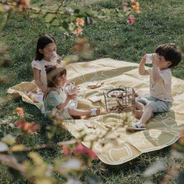 北歐童趣印花 清新植栽牛津布手提野餐墊 2色可選 (橘黃色/米色)