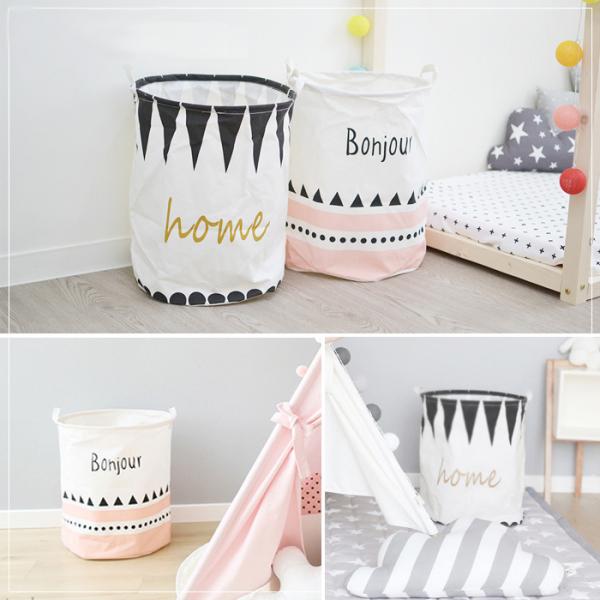 北歐風棉麻Bonjour/Home 大尺寸收納籃收納桶 玩具收納桶,收納籃