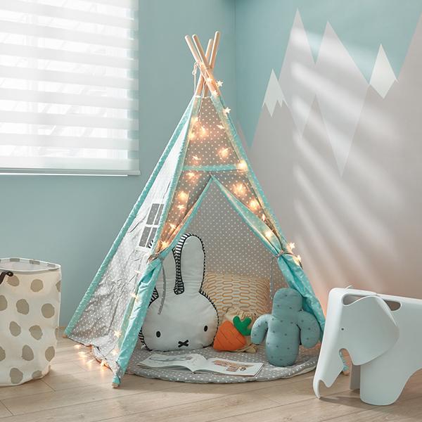 藍綠/灰雙色小星星四角兒童遊戲帳篷 小木屋帳篷,布帳,純棉帳篷,遊戲帳篷,兒童帳篷