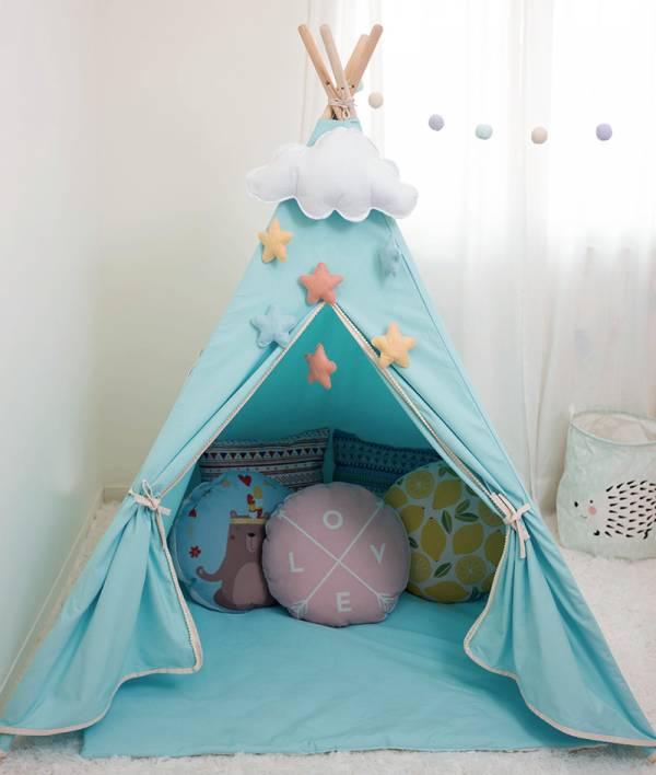 夢幻Tiffany色四角帳篷 兒童印地安帳蓬 印地安帳篷,純棉帳篷,兒童玩具,遊戲帳篷,寫真攝影道具