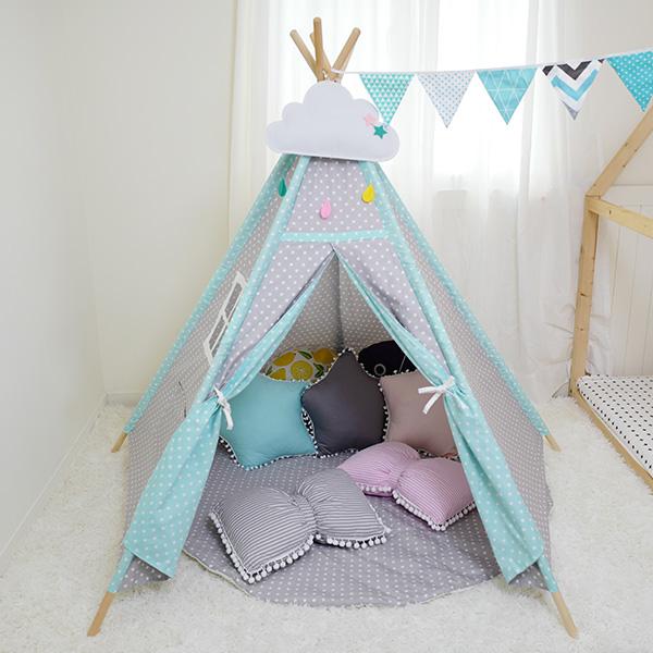 藍灰雙色小星星五角兒童遊戲帳篷 小木屋帳篷,布帳,純棉帳篷,遊戲帳篷,兒童帳篷