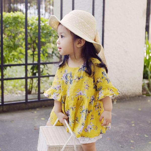 韓國進口 甜美圓點大蝴蝶結女寶女童草帽(米白) 正韓 韓國進口 圓點蝴蝶結 草帽 女童草帽 女寶草帽