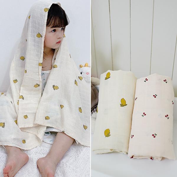 韓系清新小檸檬/小櫻桃純棉紗布包巾蓋被 純棉蓋被,哺乳巾,萬用巾,小蓋被,冷氣被,推車蓋被,防曬蓋被
