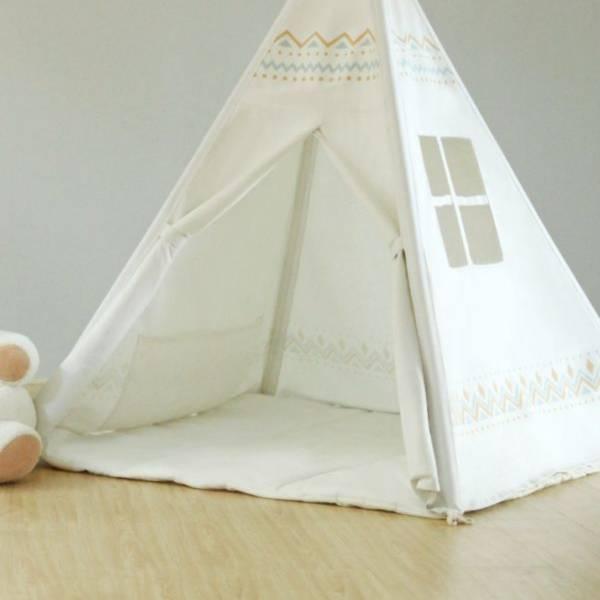 北歐素色帳篷專用地墊 雙面純棉帆布