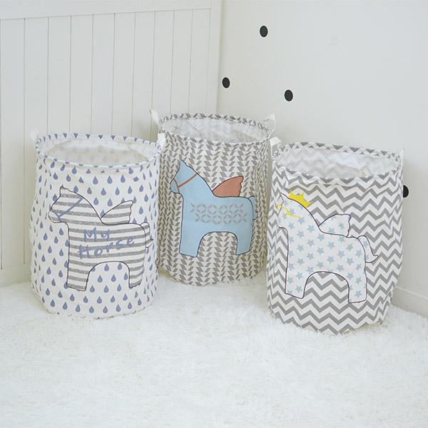北歐可愛小木馬圖案大尺寸收納籃收納桶 玩具收納桶,收納籃