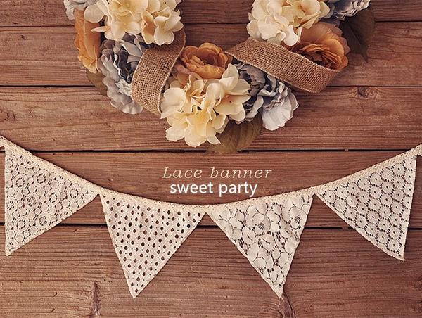 歐美婚禮派對佈置蕾絲花紋三角旗 婚紗佈置,婚禮佈置,派對裝飾,嬰兒房佈置,歐美婚禮風格