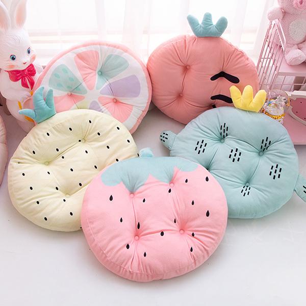 軟Q可愛水果圖案圓形坐墊  兒童抱枕,兒童坐墊,可拆洗抱枕,北歐抱枕,厚實抱枕,北歐坐墊