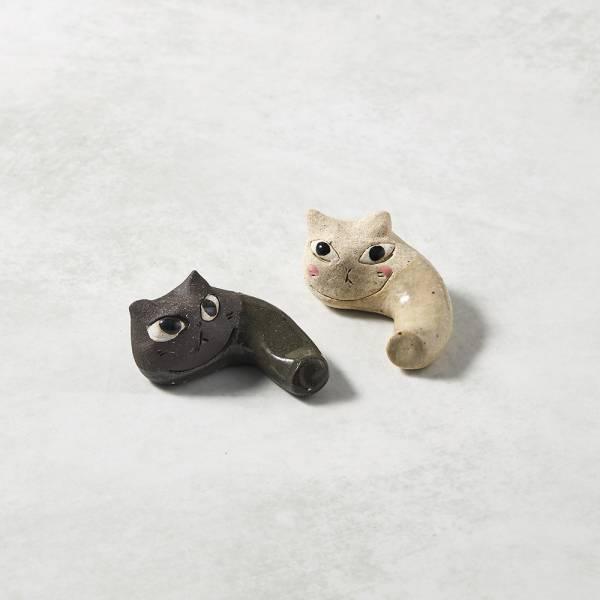 日本KOYO美濃燒- 陶製手作筷架 - 貓咪彎彎雙件組 ★ 日本進口品質保證,檢驗合格餐具