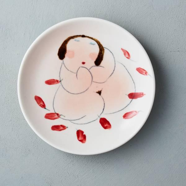 吳仲宗|胖太太系列 - 圓盤 - 火辣辣 陶藝;餐盤;平盤;手繪;三芝藝術家