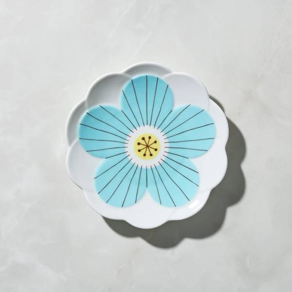 日本晴九谷燒 - 花見淺盤 - 藍 ★ 全部日本原裝精緻禮盒,送禮適宜