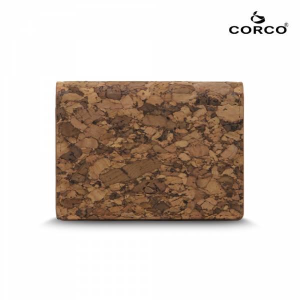 CORCO 雙摺軟木名片夾 - 塊紋棕 軟木,韓國,環保
