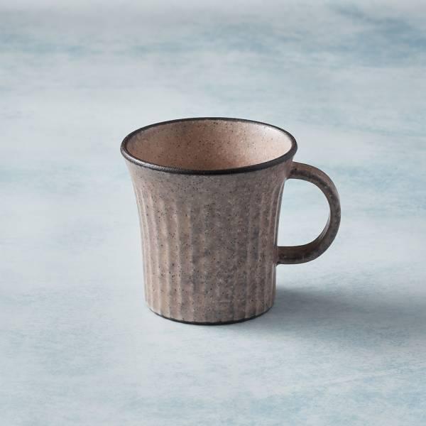 日本KOYO美濃燒 - 古典雕紋咖啡杯 - 唐茶紅 歐風,陶杯,日本製,食器,手工,檢驗合格