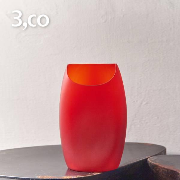 【3,co】玻璃月型口扁平花器(8號) - 紅 雕塑,擺飾,光雕,玻璃,藝術,品味,花器,當代,國際,台灣之光,台灣,原創,設計,簡約,生活美學,空間,東方意象,驚豔,精品,禮物,禮品,送禮