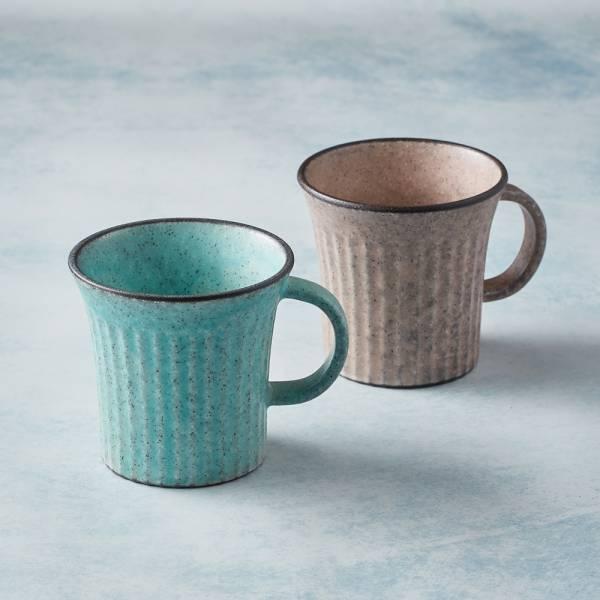 日本KOYO美濃燒 - 古典雕紋咖啡杯 - 對杯組(2件式) 歐風,陶杯,日本製,食器,手工,檢驗合格