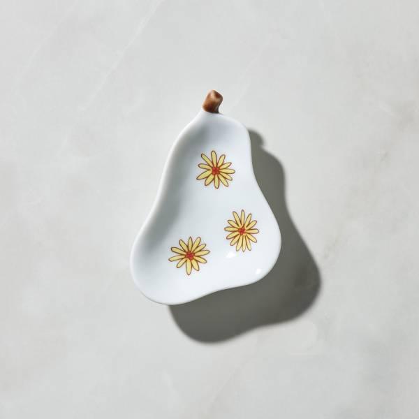 日本晴九谷燒 - 梨子小盤-小花 ★ 全部日本原裝精緻禮盒,送禮適宜