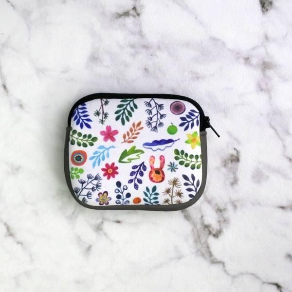 剪刀兔本鋪–潛水布零錢包–香草花園  收納小包、雜物包、可愛童趣