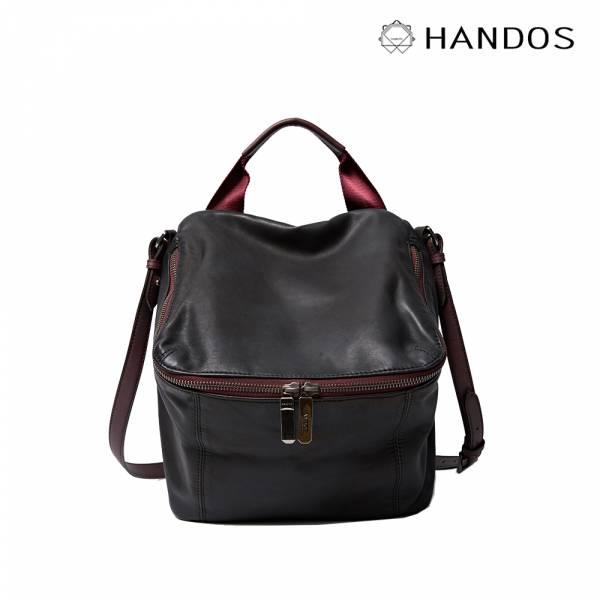 HANDOS|New Pimm's 輕便羊皮休閒肩背包 - 黑x紫紅 真皮,設計師,台灣設計,訂製五金,植鞣皮革