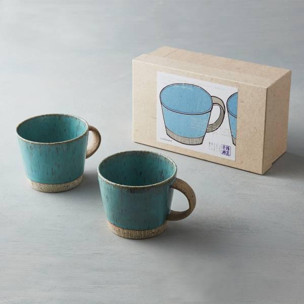 日本KOYO美濃燒 - 細刻紋馬克對杯禮盒組(2件式) 禮盒,陶杯,日本製,食器,手工,檢驗合格