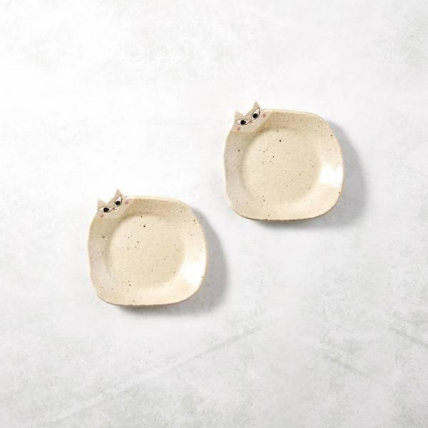 日本KOYO美濃燒- 陶製手作筷架 - 喵喵小皿雙件組 ★ 日本進口品質保證,檢驗合格餐具
