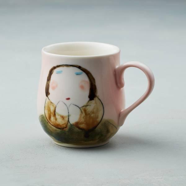吳仲宗|胖太太系列 - 馬克杯 - 妃紅粉 (棕咖衣) 陶瓷杯;茶杯;咖啡杯;馬克杯;手繪;三芝藝術家