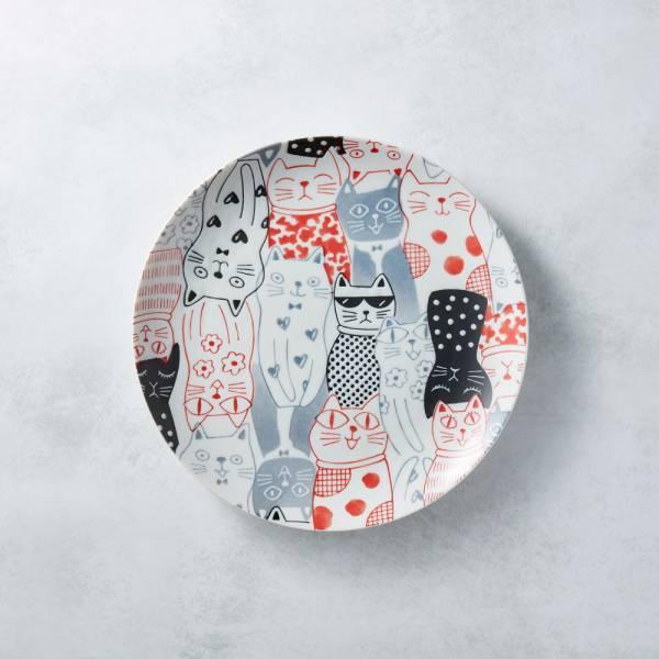 日本AWASAKA美濃燒- 酷花貓餐盤 - 紅 日本,原裝進口,盤,大盤