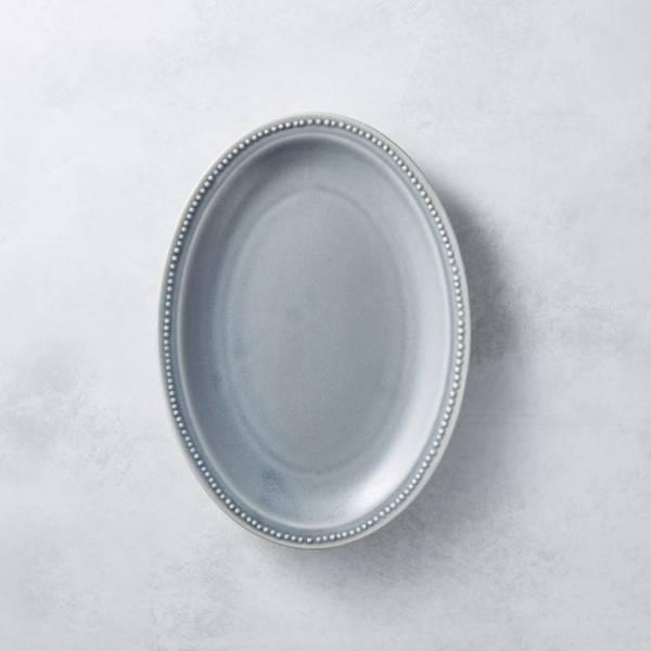 日本KOYO美濃燒 - 珍珠邊橢圓淺盤 - 灰紫 歐風,餐盤,陶盤,日本製,食器,手工,檢驗合格