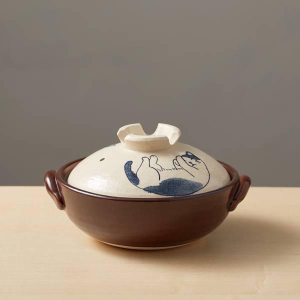 日本萬古燒-手繪土鍋6號-貓咪打呼(0.8L) 日本,原裝進口,陶鍋,土鍋,主婦必備,直火,遠紅外線,保留原味,多用,蓄熱,節能