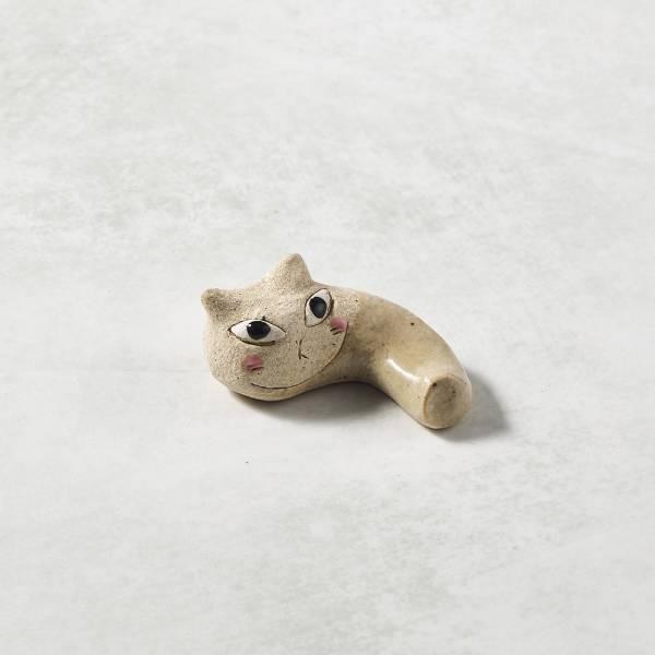 日本KOYO美濃燒- 陶製手作筷架 - 貓咪彎 - 白 ★ 日本進口品質保證,檢驗合格餐具