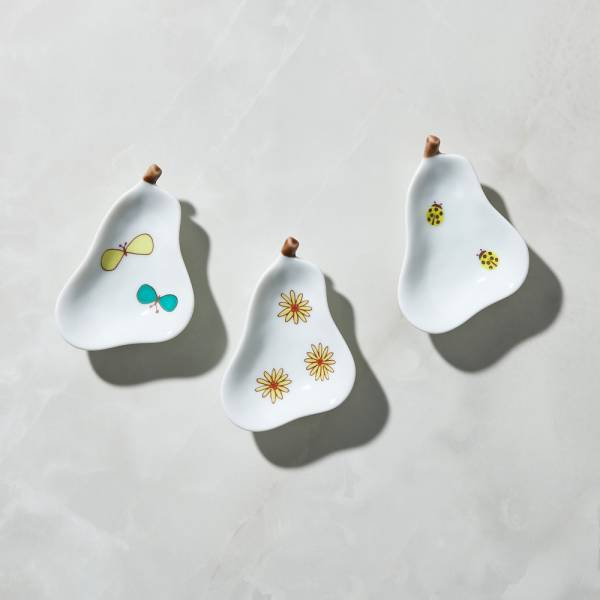 日本晴九谷燒 - 梨子小盤(3件組) ★ 全部日本原裝精緻禮盒,送禮適宜