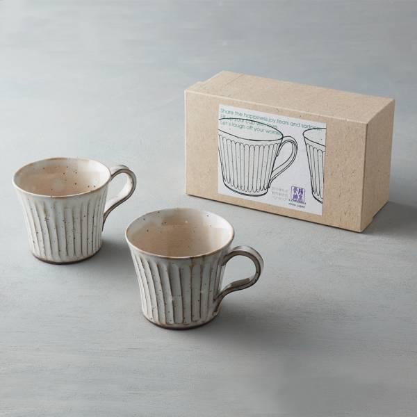 日本KOYO美濃燒 - 粉引雕紋馬克對杯禮盒組(2件式) 禮盒,陶杯,日本製,食器,手工,檢驗合格