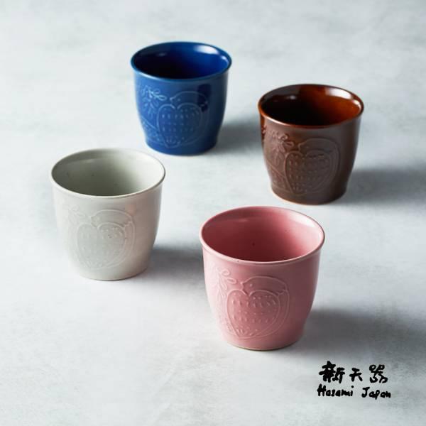 石丸波佐見燒 - 森之歌陶杯 - 4件組 日本,職人,手製,手做,手作,波佐見燒,人氣,禮品,禮物,療癒,食器,餐具,盤,原裝,收藏,質感