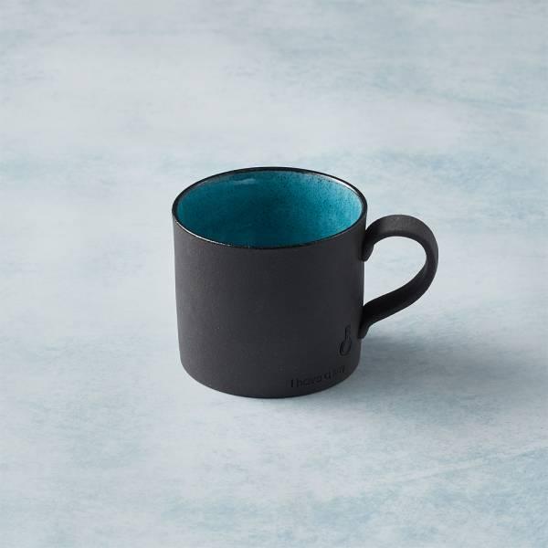 日本KOYO美濃燒 - 黑陶釉彩馬克杯 - 青綠 陶杯,釉下彩,防水,日本製,食器,手工,檢驗合格