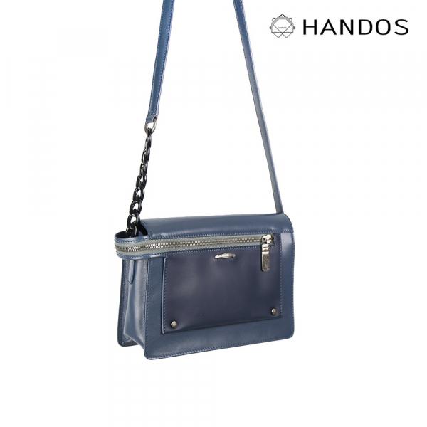 HANDOS|Pocket 串鍊真皮肩背包 - 海洋藍↘6折 復古,真皮,設計師,台灣設計,訂製五金,植鞣皮革