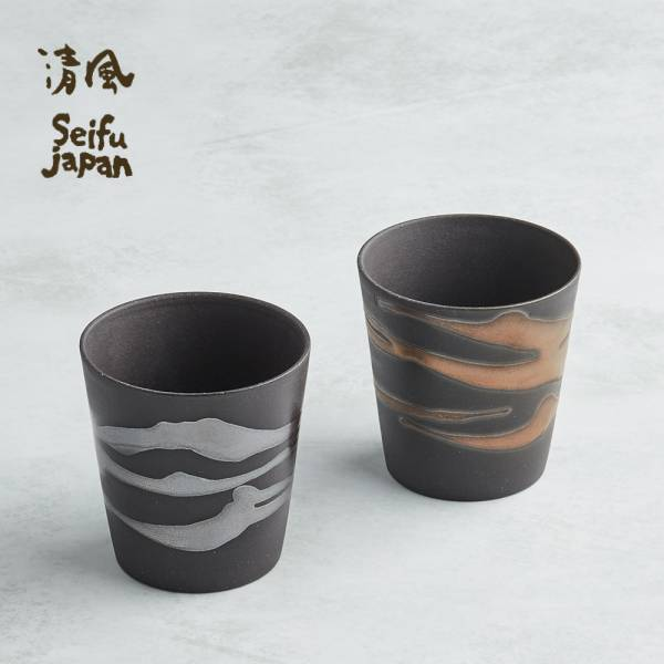 日本AWASAKA美濃燒- 金銀流暢飲陶杯組 (2件式) 日本,陶杯,酒杯,茶杯,水杯