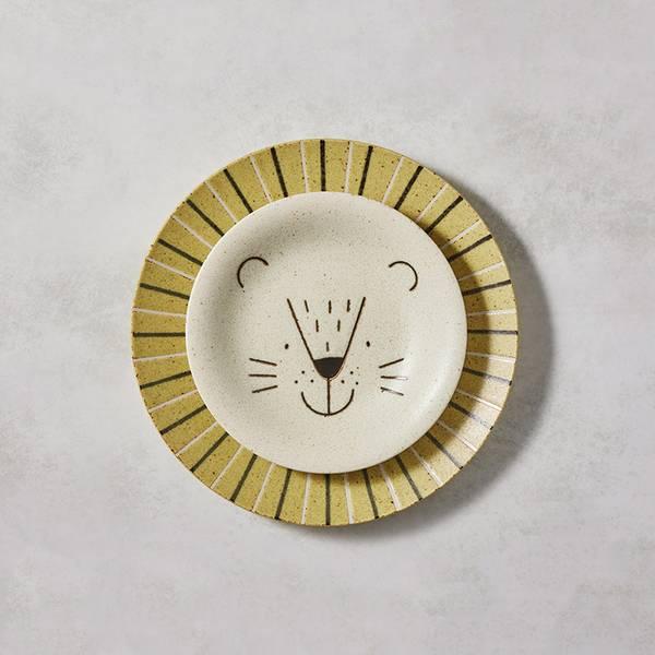 日本AWASAKA美濃燒- 萌萌毛獅餐盤 - 禮盒組(2件式) 日本,盤,餐具組