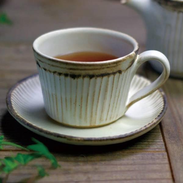 日本窯元益子燒 - 粉引燻緣紋咖啡杯盤組