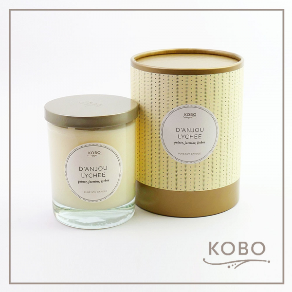 KOBO 美國大豆精油蠟燭 - 梨與荔枝 (330g/可燃燒80hr) 精油,蠟燭,天然,大豆蠟,環保,手工,美國