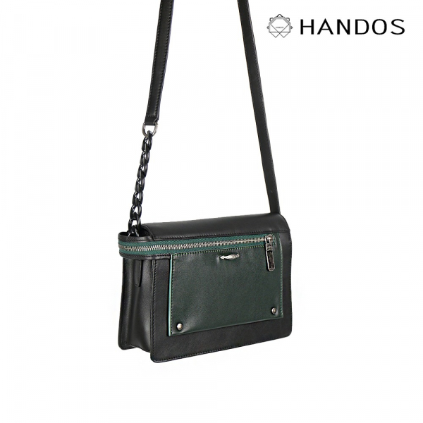 HANDOS|Pocket 串鍊真皮肩背包 - 黑 x 綠↘6折 復古,真皮,設計師,台灣設計,訂製五金,植鞣皮革
